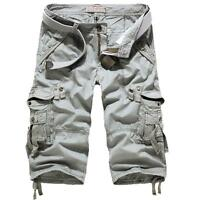Army Mens Summer cotton casual Cargo Pants Below Knee Army Combat Shorts Plus SZ