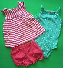 EUC CARTERS Baby Girls 3 Pc Set Shirt Bodysuit Tank Shorts 12 Months Outfit CUTE