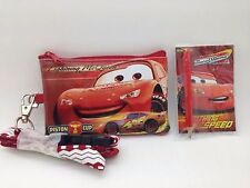 DISNEY MCQUEEN RED LANYARD WITH DETACHABLE COIN POUCH/WALLET/PURSE+PAD+PENCIL
