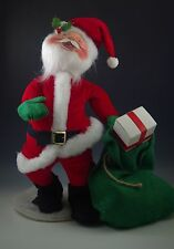 "1981 ANNALEE LARGE 18""  SANTA WITH GIFT BAG ON STAND - CHRISTMAS DOLL"
