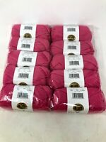 NIB Lion brand  hot pink acrylic yarn LOT  of 10 Skeins 650 yards total MSRP $45