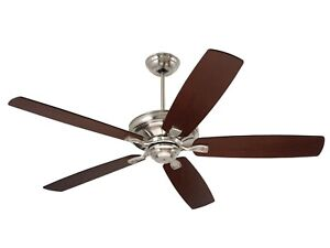 "Emerson Carrera 60"" 5 Blade Ceiling Fan Brushed Steel with Mahogany/Walnut blade"