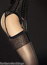Sheer leopard top stockings Antera 20 den Fiore animal print in Black and Red