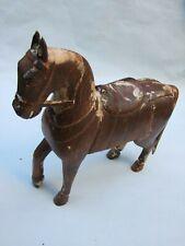VINTAGE  HAND CARVED  WOOD HORSE  STALLION STATUE FIGURINE BARGAIN