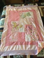 Butterfly pink lavender pastels chenille flannel baby quilt butterflies
