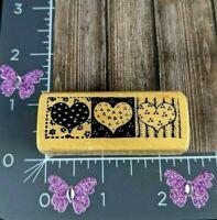 PSX Designs Rubber Stamp Three Hearts Quilt Border C-597 Design #P1