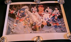 """1995 SIGNED MARK MESSIER NEW YORK RANGERS / ANGELO MARINO LITHOGRAPH 24"""" x 20"""""""