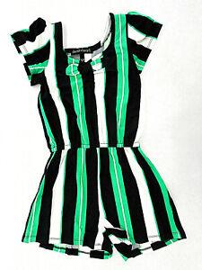 Girls Derek Heart Black, White, & Green Romper Sizes 7/8, 10/12, & 14