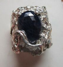MENS DISTINCTIVE 7.36CT SAPPHIRE GENUINE STERLING HORSE HANDSOME FINE RING