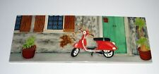 Art Tile Hand Painted Ceramic : The Red Scooter  6 x 16 inches