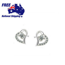 Loving Heart Diamond Heart Earrings 925 Sterling Silver