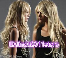 Long Western Womens Wig Like Real Natural Hair Wave Curly Blonde Wigs+WIG CAP