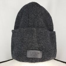 UGG Ribbed Beanie Hat Unisex Gray Knit Stocking Cap Cuffed One Size Fits Most