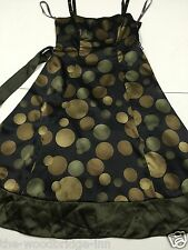 JOHN LEWIS SIZE 12 BLACK/GREEN/GOLD LADIES BONED SLEEVELESS DRESS WITH BELT 1J