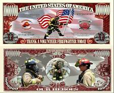 Volunteer Firefighter Million Dollar Bill Collectible Funny Money Novelty Note