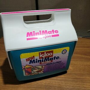 Vintage Igloo Mini Mate Personal Cooler Teal Pink Ice Chest Free Shipping