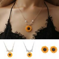 Exquisite Creative Women Cute Sunflower Pearl Pendant Necklace Earring Jewelry