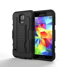 For Samsung Galaxy S5 SV Black Tough Rugged Impact Hybrid Hard Case Cover Stand
