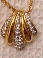 Rhinestones Necklace Chain Signed Joan Rivers Gold-Tone Scalloped Pendant