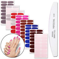 JW_ 8Pcs Waterproof Solid Color Nail Polish Adhesive Strip Stickers Manicure D