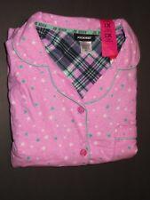 Joe Boxer women flannel pajama set - 2pc 1X sz pink stars NWT
