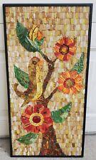 VTG Handmade Mid Century Modern Ceramic & Glass Tile Mosaic Birds Flowers MCM