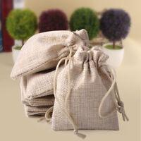 10pcs  6*9cm Natural Burlap Linen Jute Sack Drawstring Pouch Bag Wedding Favor