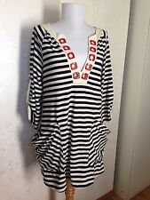 Nanette Lepore Swim Sz M Nautical Navy White Striped Tunic Top Slouchy Pockets