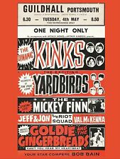 "Kinks / Yardbirds Guildhall Portsmouth 16"" x 12"" Photo Repro Concert Poster"