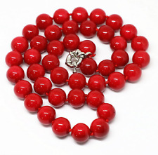 Natural10mm Red Coral Round Gems Beads Necklace 18 Inch