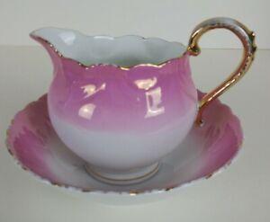 Lusterware Porcelain Pink White Creamer Bowl Set