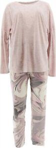 Cuddl Duds Plush Velvet Fleece Pullover PJ Set OtmlHthr PnkMrb M NEW A381811