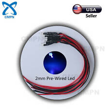 20Pcs 2mm Pre-Wired Flat Top Blue Wide Angle Light Lamp DC 9-12v LED Diodes 20CM