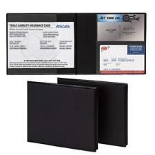 "2 Pk Registration Insurance Card Holder 5.25"" x 4.75"" Black Glove Box Organizer"