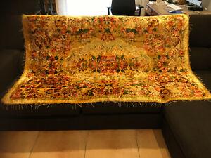 Très beau couvre lit ancien en velours de brocart Vénitien