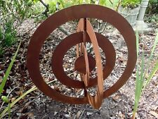 Rusty Round Eliptical Metal Garden Sculpture Statue Large
