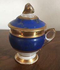 Antique 19th c. Old Paris Porcelain Pot de Creme Syllabub Cup Cover Blue & Gold