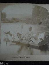 STA142 barque bateau homme tombe à l'eau 1900 STEREO albumine stereoview
