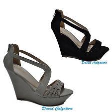 Scarpe donna sandali sandalo zeppe alte plateau strass