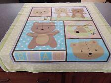 Little Brown Bear Crib Quilt Top Fabric Panel 35x43 Blue Yellow Green Brown Gray