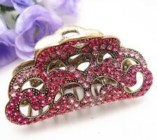 Newest hair Jewelry Hot Pink Rhinestone Unique Alloy Hair Claw Clip Pins #812