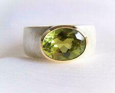 Turmalin Ring, Silber, Weite 61, 750 Gold, Herrenring, grün, oval, Unikatmeister