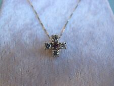New Sterling Silver Pink Sapphire with Cubic Zirconia Cross Pendant