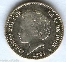 Alfonso XIII 50 Centimos 1894 Bucles @ Sin Circular @