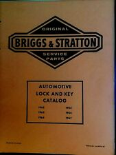 Briggs & Stratton car lock & key CATALOG manual 1962 - 1967 ILLUSTRATED PARTS