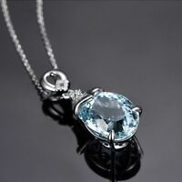 Women Elegant Necklace Vintage Silver Natural Chain Aquamarine Pendant Jewelry