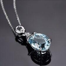 Women Elegant Necklace Vintage Silver Natural Chain Aquamarine Pendant Jewelry