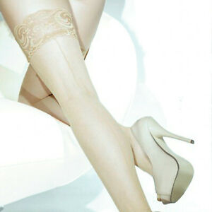 Coquette Lace Top Thigh High Fishnet Stay Up Backseam Stockings - Black or Nude
