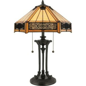 Quoizel 2 Light Indus Tiffany Table Lamp in Vintage Bronze - TF6669VB