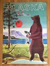 RARE Vtg 1950s Iconic Alaska Travel Poster Used by Northwest Orient Airlines